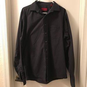 Alfani XL Black and gray striped button down shirt
